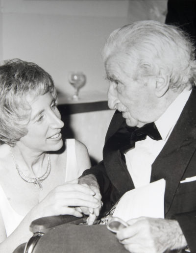 1st event. Ann with Sir Robert Meyer, 100 years old, founder of the Youth and Music concerts