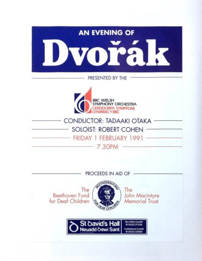 An Evening Of Dvorak - programme